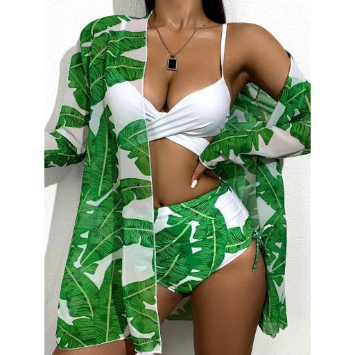 3 piezas Bañador bikini girante floral con kimono [2]