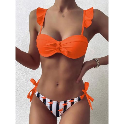 Bañador bikini con cordón lateral con estampado de rayas y flamenco [2]