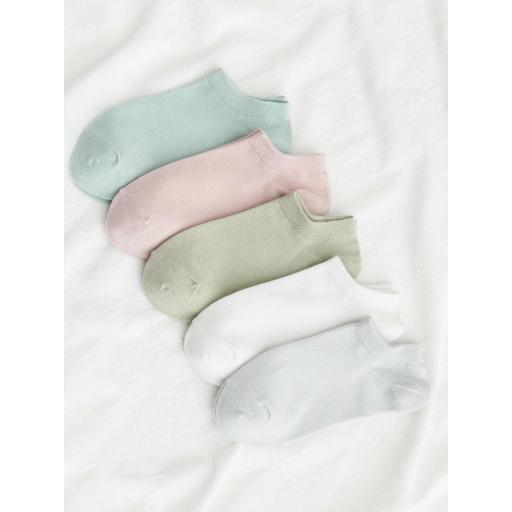 5 pares calcetines tobilleros unicolor
