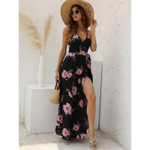 Vestido de tirantes floral con nudo lateral cruzado [2]