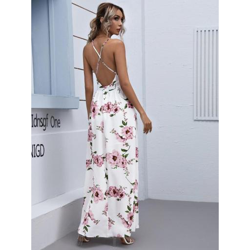 Vestido maxi floral de espalda abierta con tiras cruzadas de cuello profundo [1]