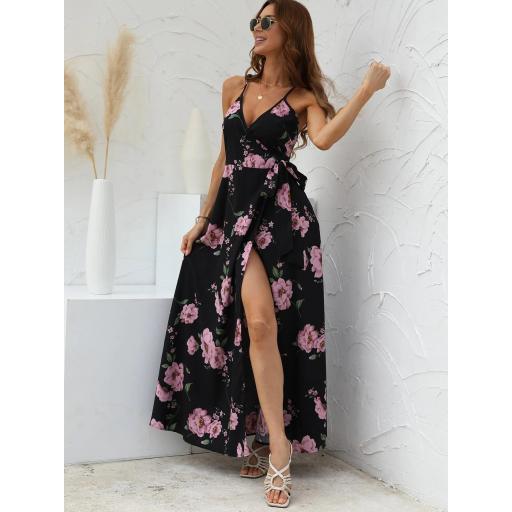 Vestido de tirantes floral con nudo lateral cruzado