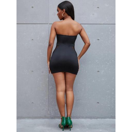 Vestido ajustado mini de malla  [1]