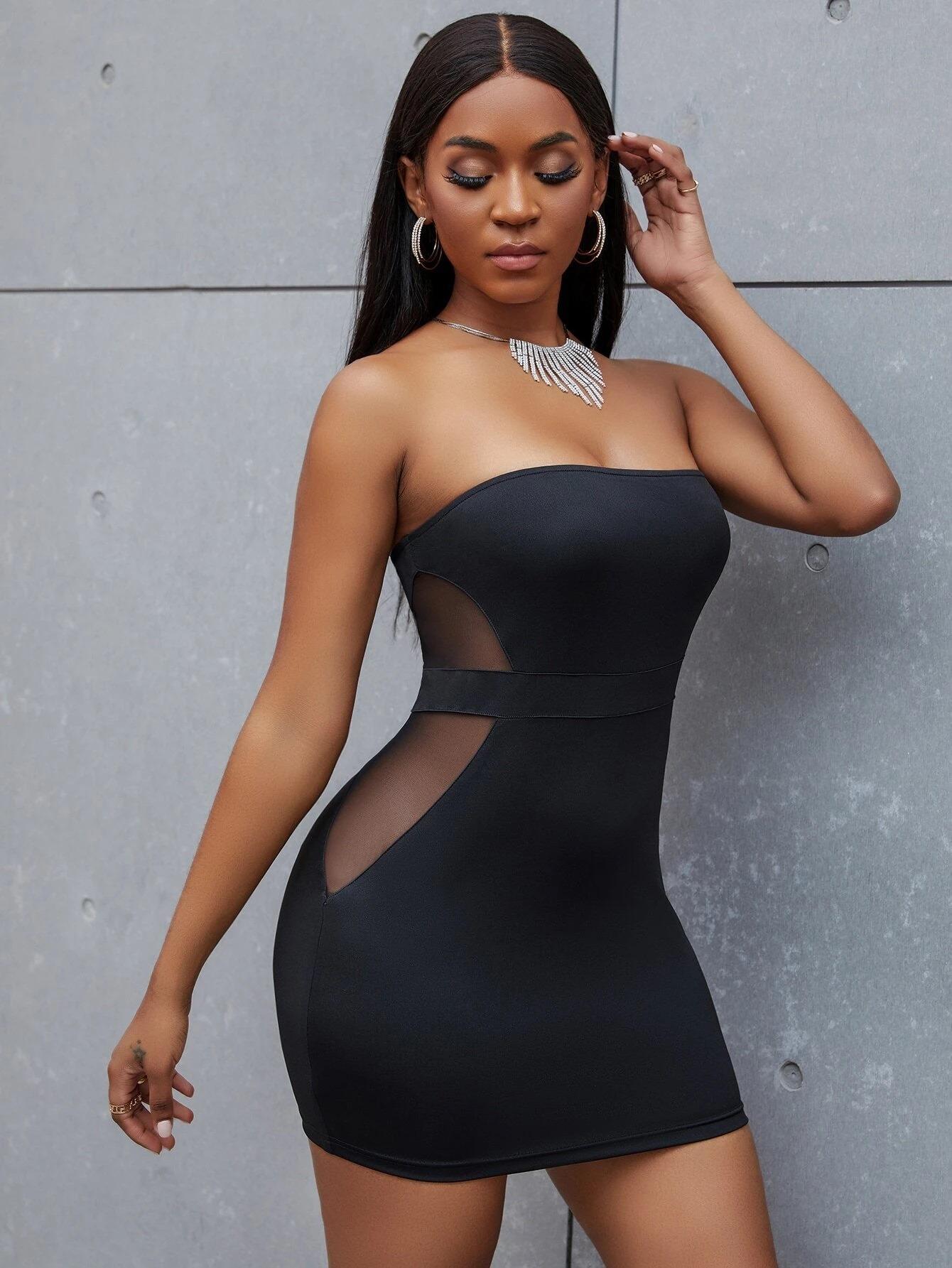 Vestido ajustado mini de malla