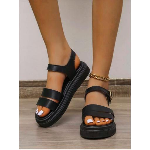 Sandalias de plataforma plana minimalista con diseño de hebilla [2]