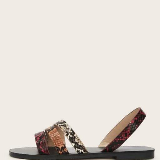Sandalias de punta abierta con estampado de piel de serpiente [1]