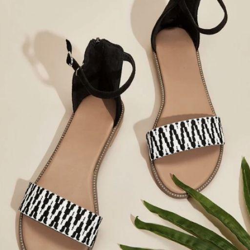 Sandalias de punta abierta con tira tobillera de color combinado [0]