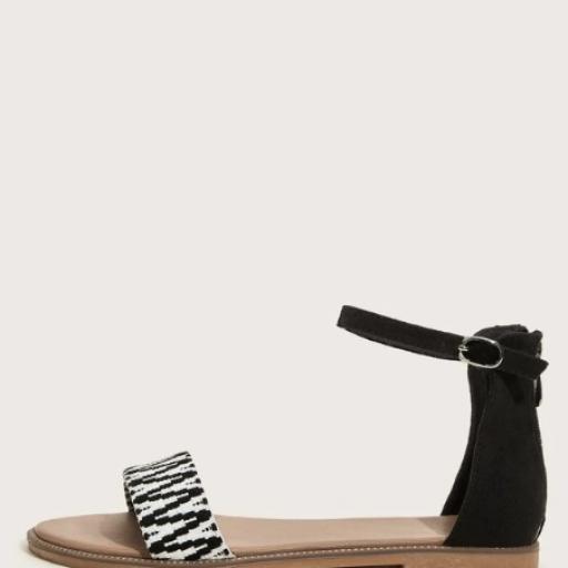 Sandalias de punta abierta con tira tobillera de color combinado [1]