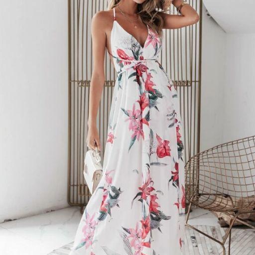 vestido slip cruzado con abertura de espalda