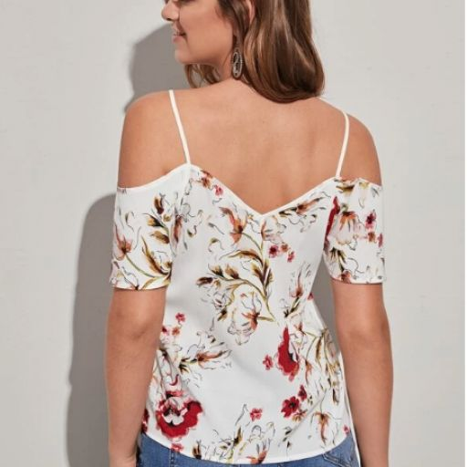 Top con estampado floral de hombros descubiertos [2]