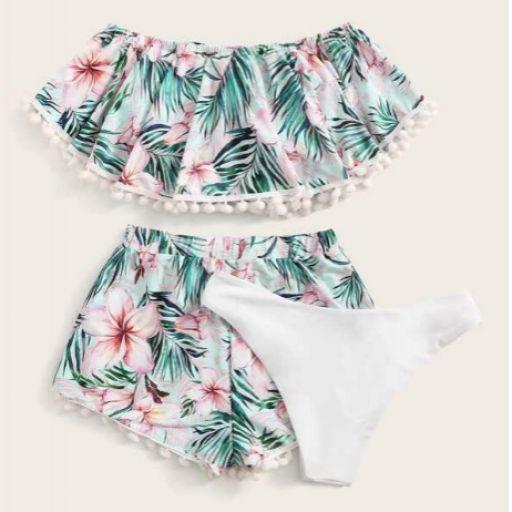 Set de bikini con volante floral al azar con shorts 3 paquetes [1]