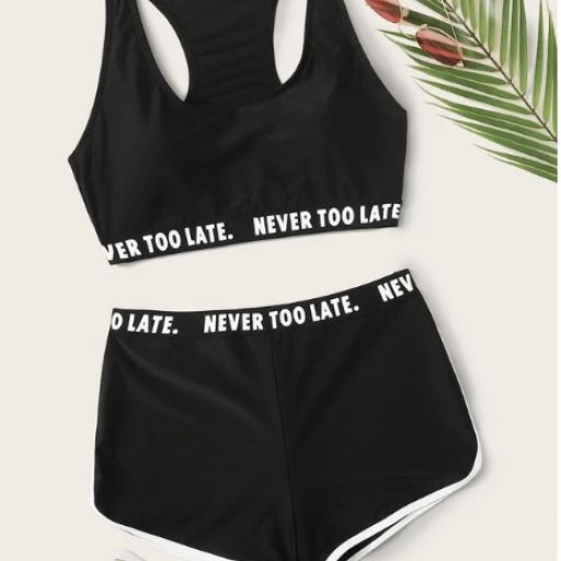 Set de bikini top con cinta con letra con shorts [0]