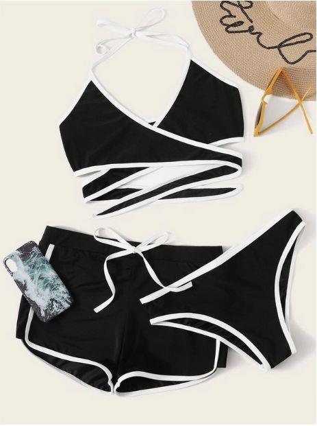 Set de bikini halter cruzado con tubería en contraste con shorts 3 paquetes