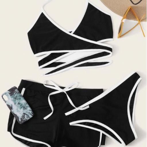 Set de bikini halter cruzado con tubería en contraste con shorts 3 paquetes [0]