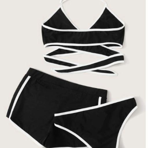 Set de bikini halter cruzado con tubería en contraste con shorts 3 paquetes [1]