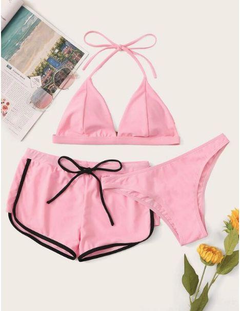 Set de bikini top halter con bragas con shorts 3 paquetes