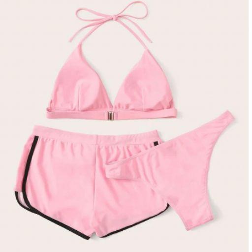 Set de bikini top halter con bragas con shorts 3 paquetes [1]