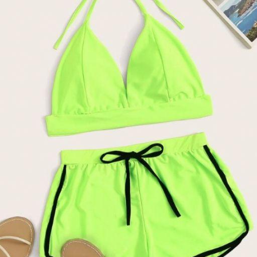 Bañador 2 piezas top halter de color neón con shorts [0]
