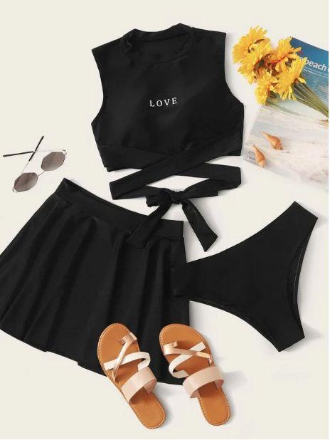 Set de bikini cruzado con estampado de letra 3 paquetes