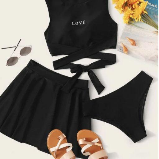 Set de bikini cruzado con estampado de letra 3 paquetes [0]