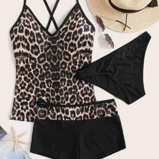 3 piezas bañador bikini con tiras cruzadas de leopardo [0]