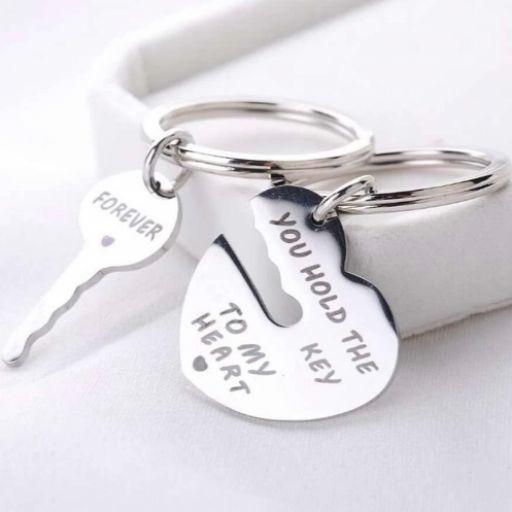 2 piezas llavero con diseño de llave y corazón [1]