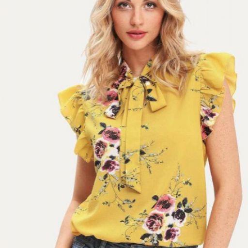 Blusa de flores con lazo en el cuello [0]