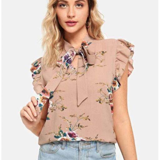 Blusa de flores con lazo en el cuello [1]