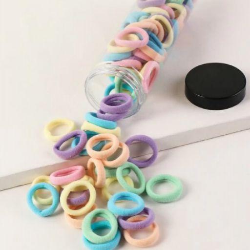 100 piezas goma de pelo unicolor