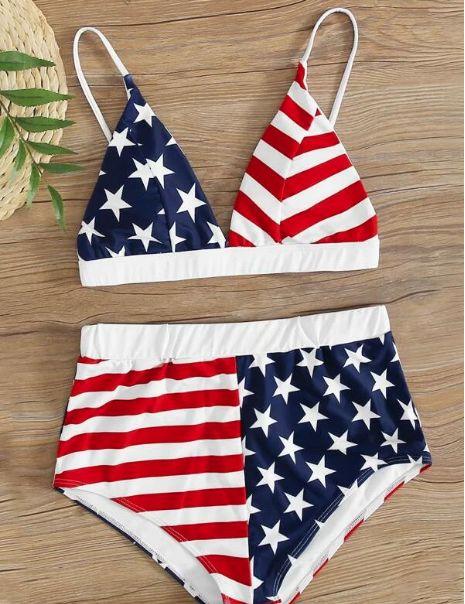 Bañador bikini shorts con estampado de bandera de los E.E.U.U.