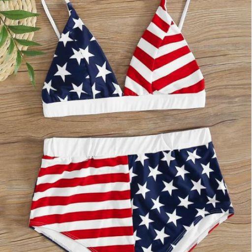 Bañador bikini shorts con estampado de bandera de los E.E.U.U. [0]