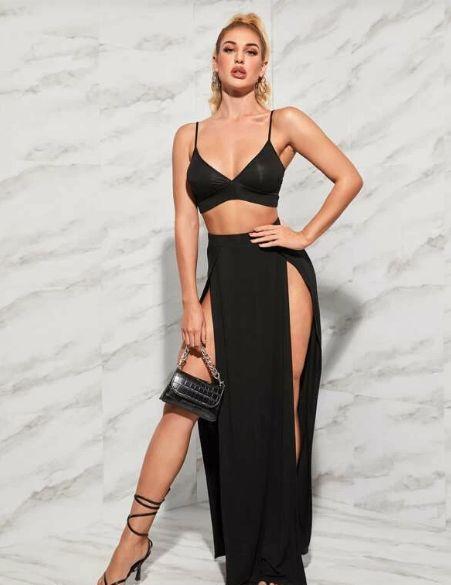 Conjunto top Y falda con abertura alta delantera