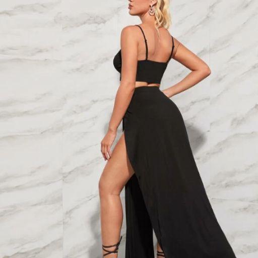 Conjunto top Y falda con abertura alta delantera [1]