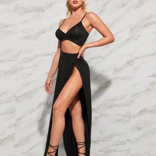 Conjunto top Y falda con abertura alta delantera [2]
