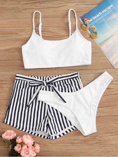 3 PIEZAS Set de bikini con nudo delantero de rayas