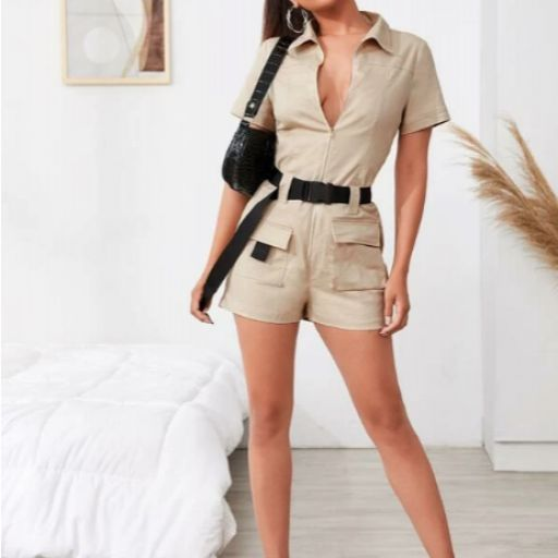 Mono camisa con cinturón con hebilla con bolsillo con solapa con cremallera delantera [2]