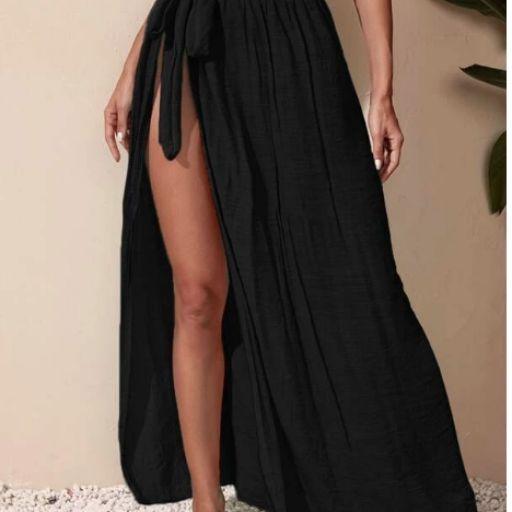 Falda cover up de cintura con nudo [3]