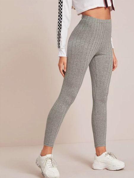 Leggings tejidos de canalé de cintura elástica