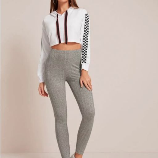 Leggings tejidos de canalé de cintura elástica [1]
