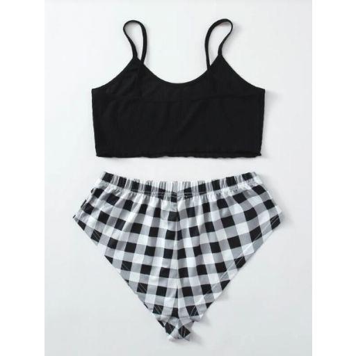 Conjunto de pijama top de tirantes con estampado de letra con shorts de guingán [1]