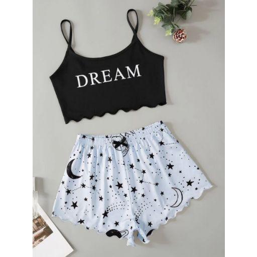 Conjunto de pijama top de tirantes corto ribete en abanico con estampado de letra y galaxia con shorts [0]