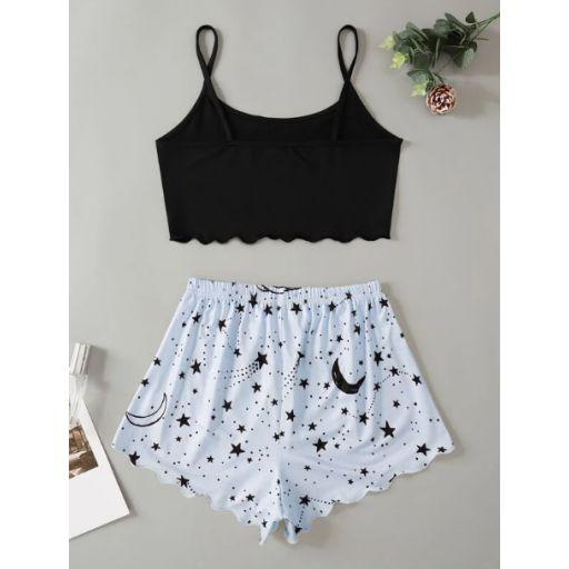 Conjunto de pijama top de tirantes corto ribete en abanico con estampado de letra y galaxia con shorts [1]