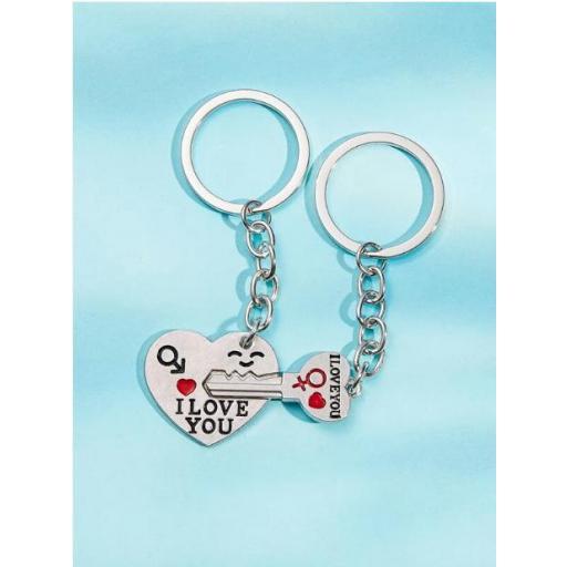 2 piezas llavero colgante de corazón y llave
