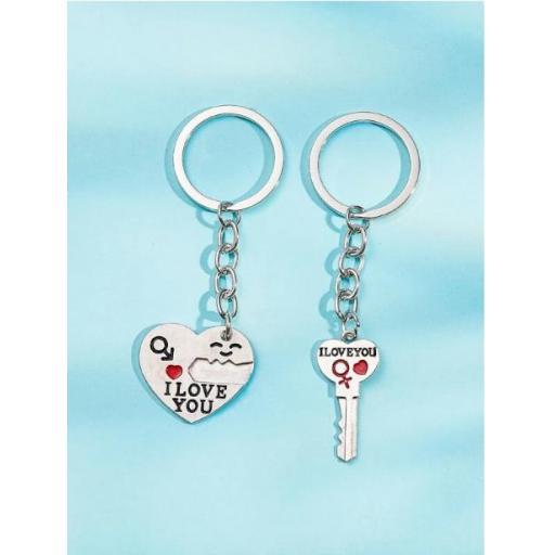 2 piezas llavero colgante de corazón y llave [1]