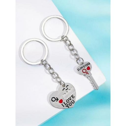 2 piezas llavero colgante de corazón y llave [2]