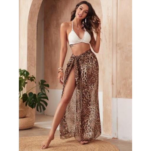 Falda cover con nudo de gasa de leopardo [3]