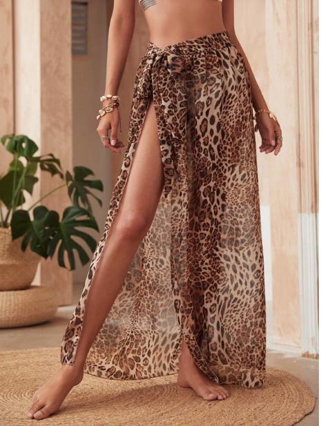Falda cover con nudo de gasa de leopardo