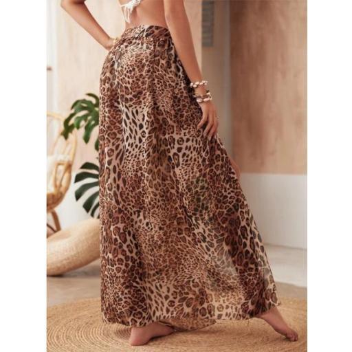 Falda cover con nudo de gasa de leopardo [1]