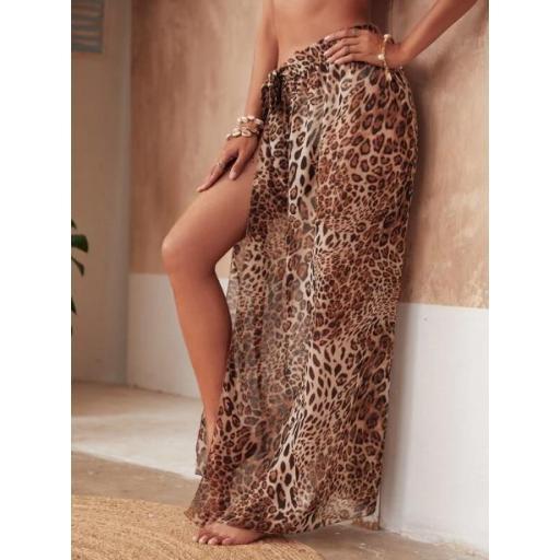 Falda cover con nudo de gasa de leopardo [2]