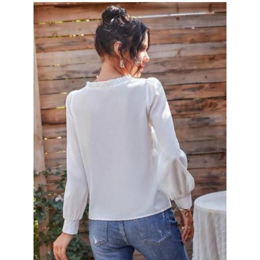 Camisa de manga farol  fruncido de cuello V  [1]